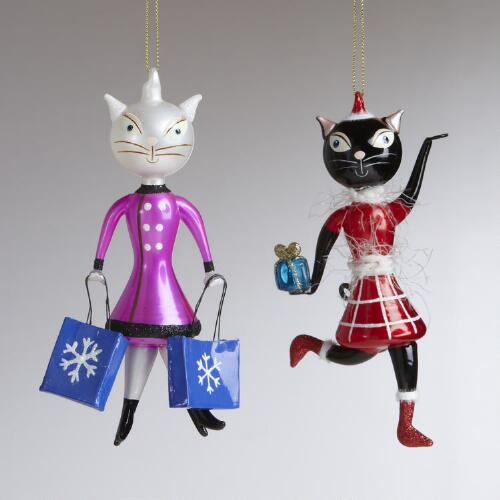 Glass Cat Girl Ornaments, Set of 2