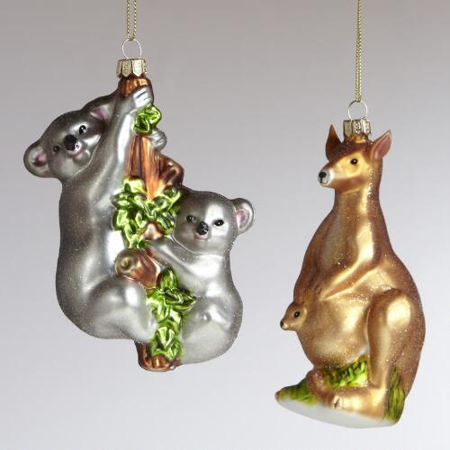 Glass Kangaroo and Koala Ornaments, Set of 2