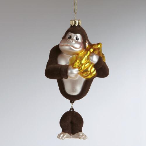 Glass Gorilla with Bananas Ornament