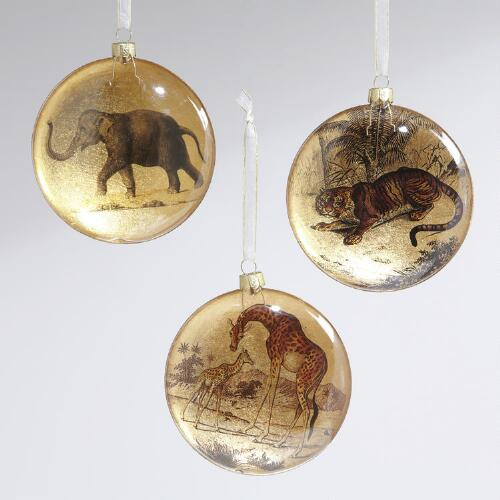Glass Safari Disc Ornaments, Set of 3