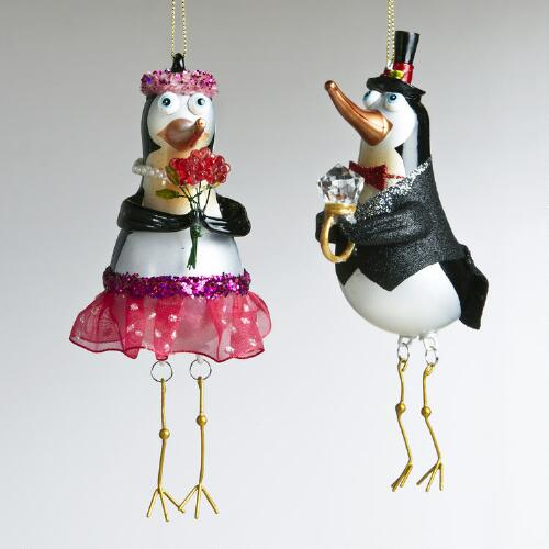 Glass Boy and Girl Penguin Ornaments, Set of 2