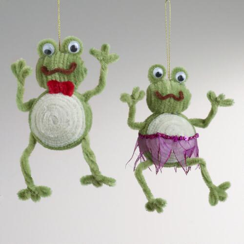 Chenille Fabric Frog Ornaments, Set of 2