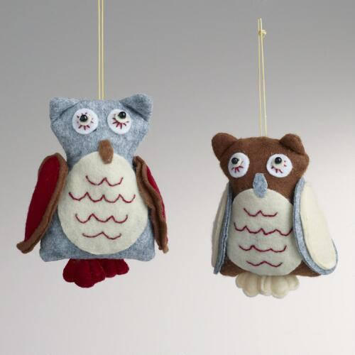 Felt Owl Ornaments, Set of 2