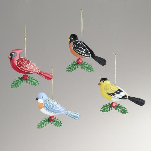 Metal Bird with Holly Ornaments, Set of 4