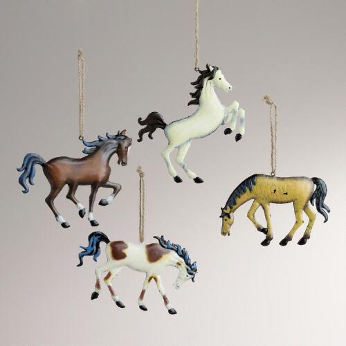Metal Horse Ornaments, Set of 4