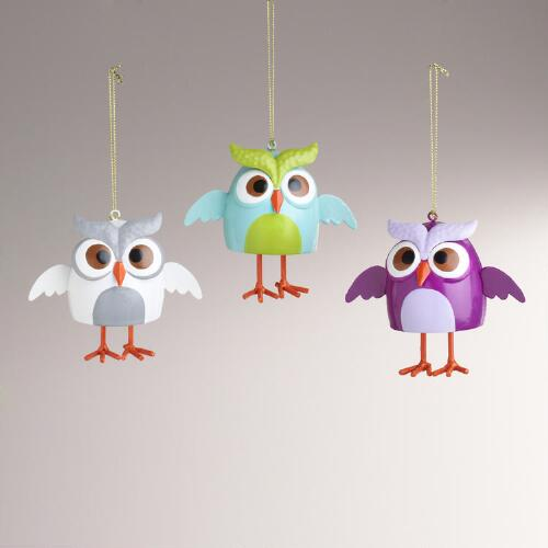 Metal Owl Bell with Dangling Legs Ornaments, Set of 3