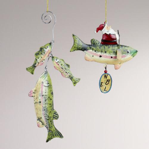 Metal Trout with Santa Ornaments, Set of 2