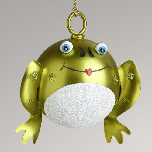 Metal Kissing Frog Bell Ornament