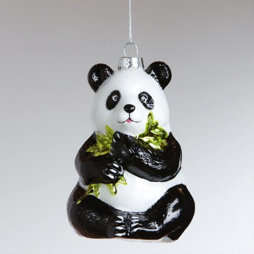 Glass Sitting Panda Ornament