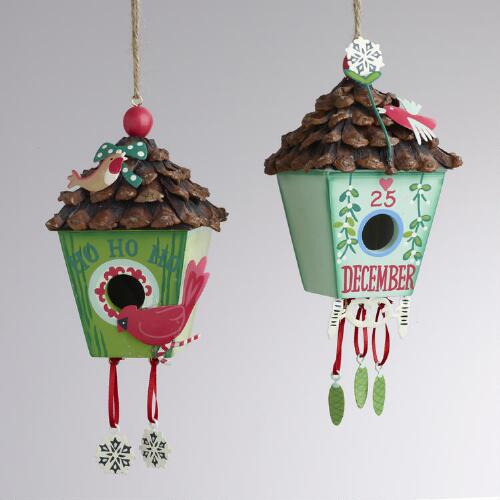 Alpine Birdhouse Ornaments, Set of 2