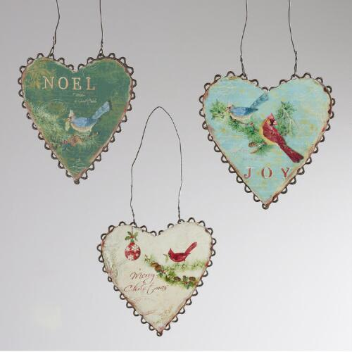 Metal Heart Ornament, Set of 3