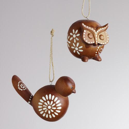 Wood Bird and Owl Ornaments, Set of 2