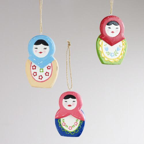 Wood Babushka Ornaments, Set of 3