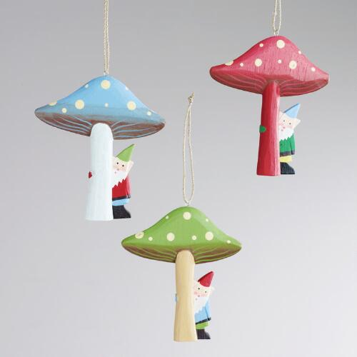 Wood Mushrooms with Gnome Ornaments, Set of 3