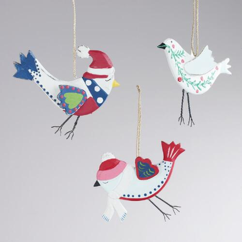Wood Alpine Bird Ornaments, Set of 3