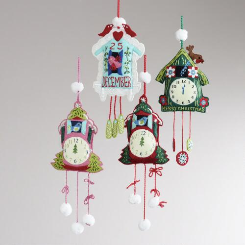 Embroidered Felt Cuckoo Clock Ornaments, Set of 4