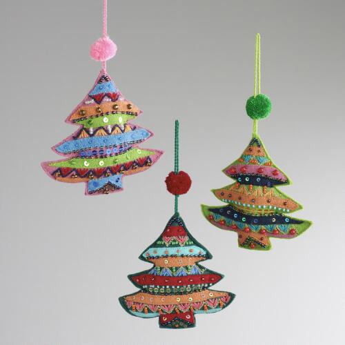 Embroidered Fabric Tree Ornaments, Set of 3