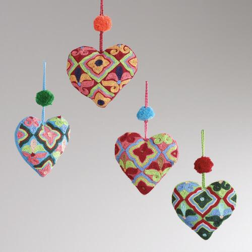 Embroidered Fabric Heart with Pom-Pom Ornaments, Set of 4