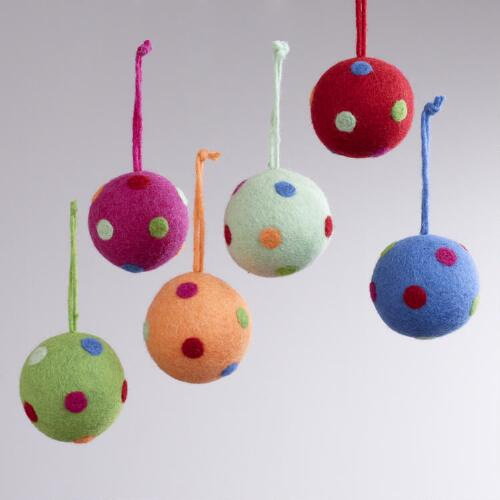 Felt Polka Dot Ball Ornaments, Set of 6