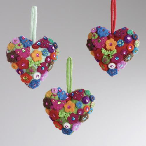 Floral Gem Heart Ornaments, Set of 3