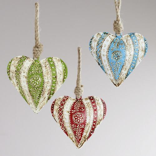 Metal Floral Striped Heart Ornaments, Set of 3