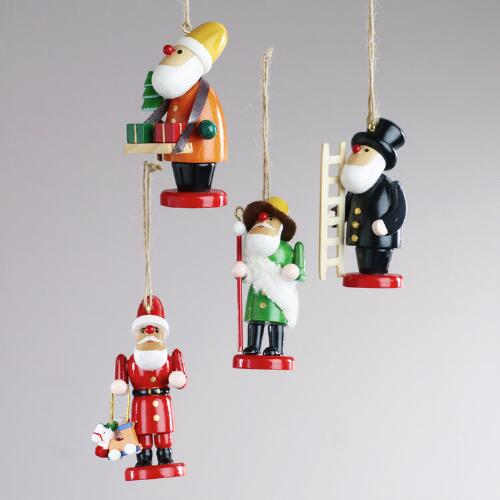 Wood Alpine Santa Ornaments, Set of 4
