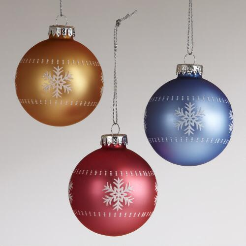 Glass Snowflake Ball Ornaments, Set of 3
