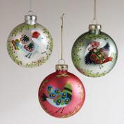 Glass Peace Bird Disc Ornaments, Set of 3