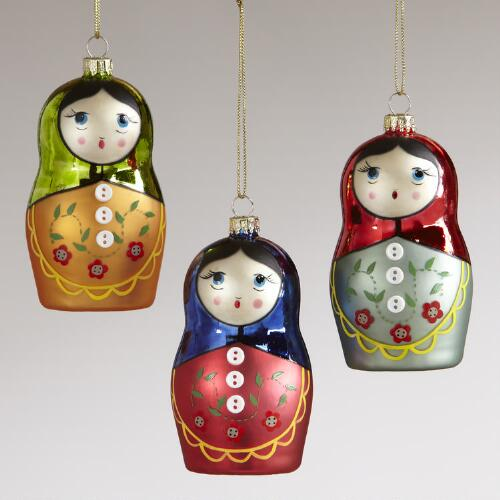 Glass Russian Doll with Buttons Ornaments, Set of 3