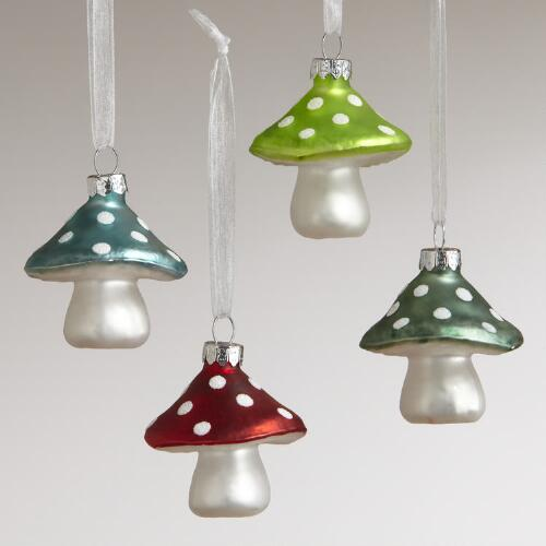 Glass Mini Mushroom Ornaments, Set of 4