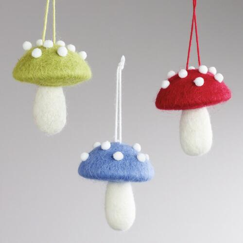 Felt Mushroom Ornaments, Set of 3