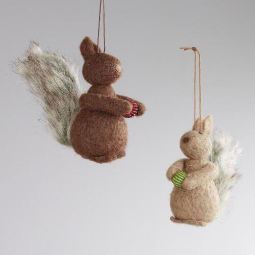 Felt Squirrel Ornaments, Set of 2