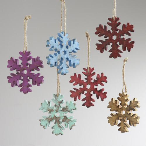 Wood Antiqued Snowflake Ornaments, Set of 6