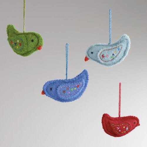 Embroidered Felt Bird Ornaments, Set of 4
