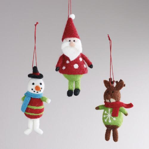 Felt Deer, Santa, and Snowman Ornaments, Set of 3