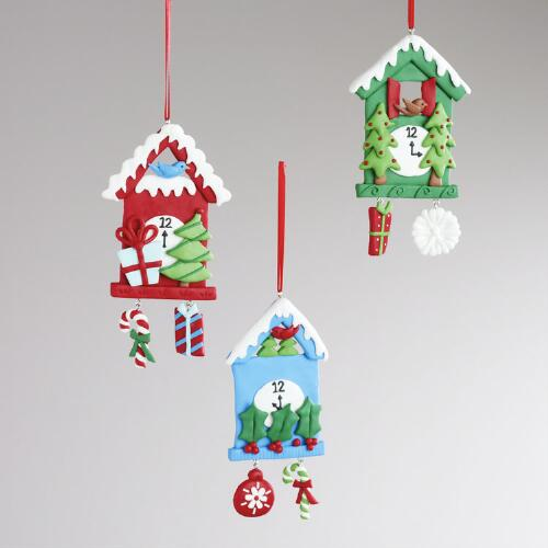Clay Cuckoo Clock Ornaments, Set of 3