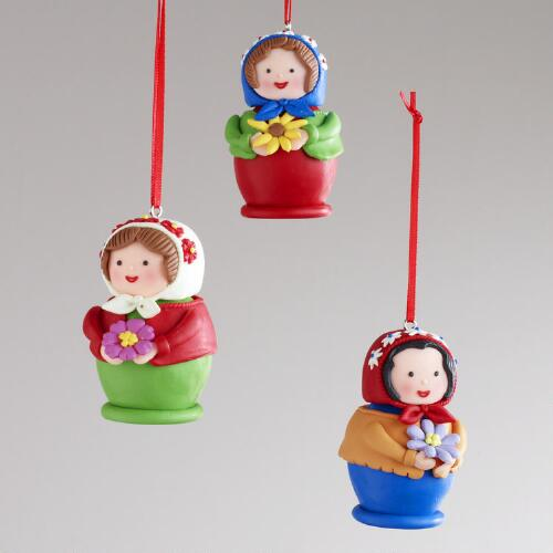 Clay Russian Doll Ornaments, Set of 3