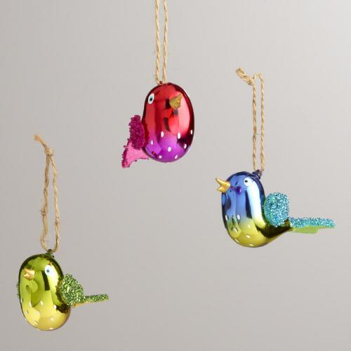 Glass Embellished Songbird Ornaments, Set of 3