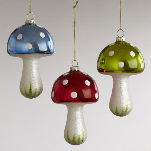 Glass Mushroom with Ice Ornaments, Set of 3