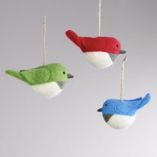 Felt Chubby Bird Ornaments, Set of 3