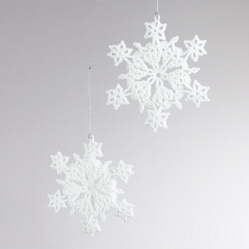 Crochet Snowflake Ornaments, Set of 2