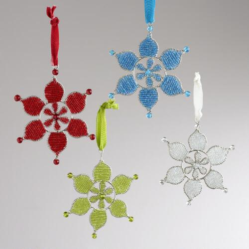 Metal Beaded Snowflake Ornaments, Set of 4