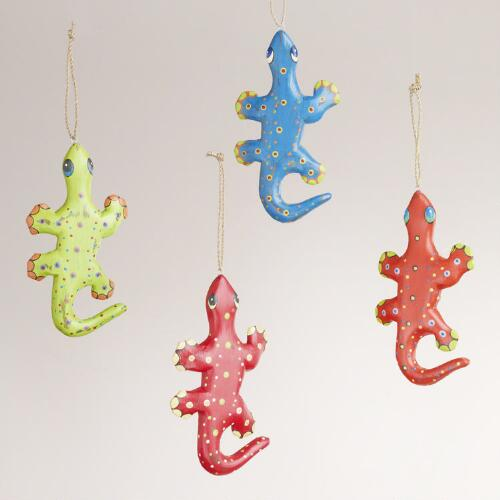 Wood Gecko Ornaments, Set of 4