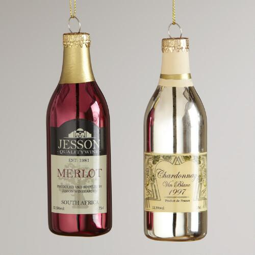Glass Wine Bottle Ornaments, Set of 2