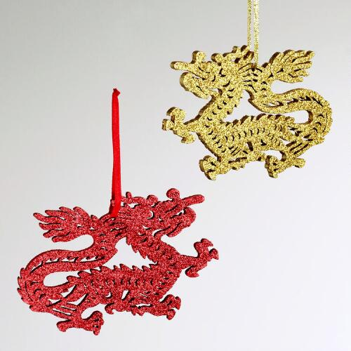 Laser Cut Wood Glitter Dragon Ornaments, Set of 2