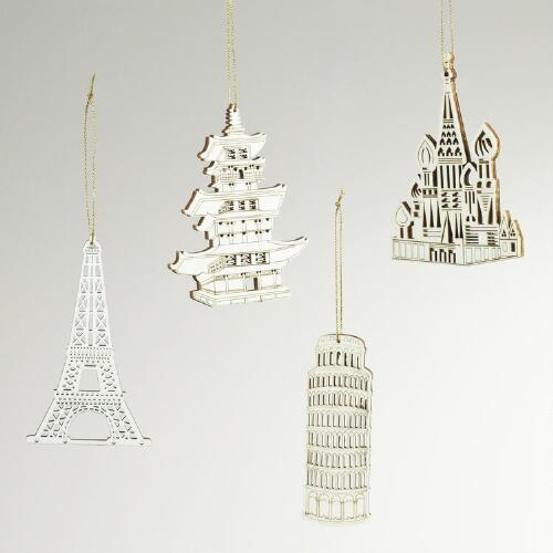 Laser Cut Wood Famous Building Ornaments, Set of 4