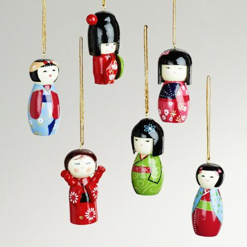 Wood Kokeshi Doll Ornaments, Set of 6