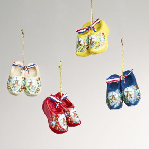 Wooden Shoe Ornaments, Set of 4