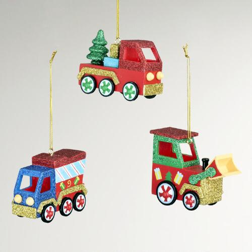 Wood Transport Truck Ornaments, Set of 3