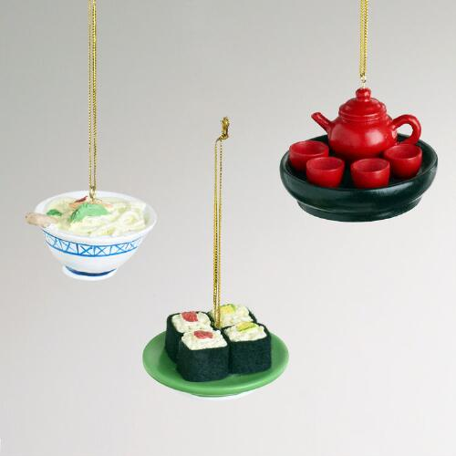 Wood Asian Food Ornaments, Set of 3